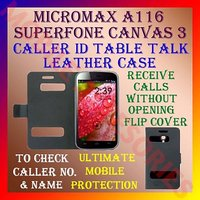 Caller ID Flip Pouch Cover Carry Case For Micromax A116 Superfone Canvas HD 3