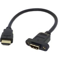 1.4 19pin Male To Hdmi A Type Female Extension Cable With Screw Hole 30 Cm