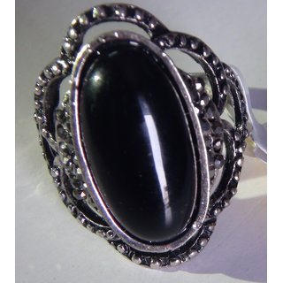 Imported-Black-Rhinestone-Silvertone-Fashion-Ring-premium-cocktail-look  Import