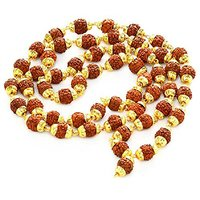 Rudraksha 5 Mukhi Japa Mala Rosary With Golden Cap Hindu Meditation yoga - 54+1 beads