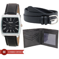 Zion Square Dial Black Leather Strap Mens Combo Of WatchBelt And Wallet