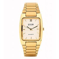 Zion Rectangle Dial Golden Metal Strap Mens Watch