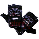 Pro-Biker Riding Half Cut Gloves - 1 Pair For Bike Motorcycle Scooter Riding - Black Colour