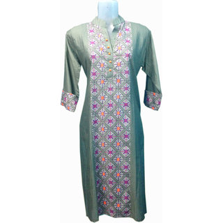 Cotton kurti available Neon touch for Casual and Office wear