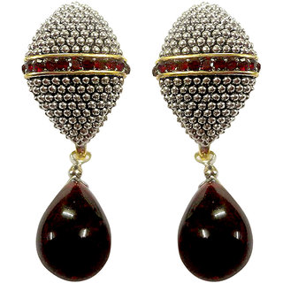 Asian Pearls & Jewels Silver And Maroon Fashion Earrings