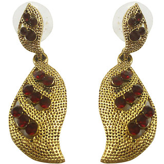 Asian Pearls & Jewels Golden And Red Fashion Earrings