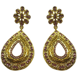 Asian Pearls & Jewels Golden And Pink Fashion Earrings