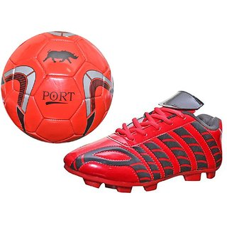 Port Combo of Unisex PU Football shoes And Soccer ball