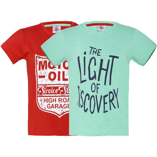 Punkster Multi-Color 100 Cotton Half Sleeve Pack of 2 T-Shirts For Boys 4595-3