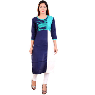 1style women multi colour blue cotton ryon and casual kurti