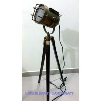 Antique Designer's Searchlight Floor Lamp With Antque Tripod Stand Antique Light