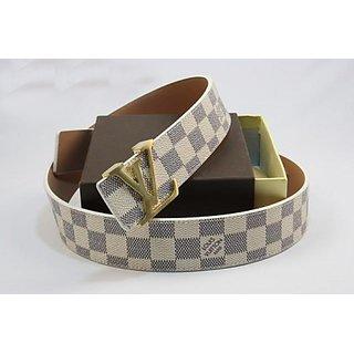 Louis Vuitton Checker  Belt Latest Men  White Free Gift