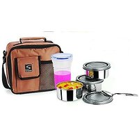 Stenso Lunchbox And 3 Steel Containers Air Tight Bottle Carry Bag