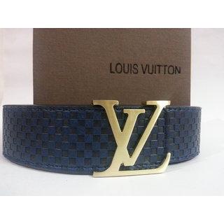 Louis Vuitton 2013 New Gold Buckle Men Belt Blue Free Gift - 4853396