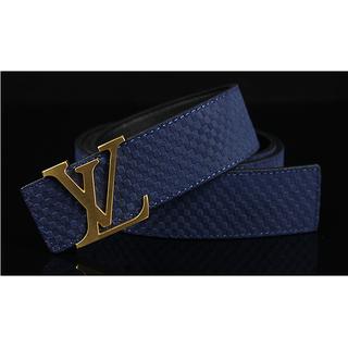 Louis Vuitton 2013 New Gold Buckle Men Belt Blue Free Gift