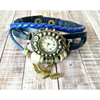 Genuine Leather Bracelet Ladies Vintage Style Women Wrist Watch HeartWing Blue