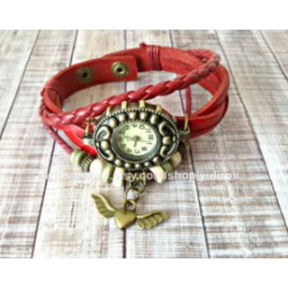 Genuine Leather Bracelet Ladies Vintage Style Women Wrist Watch HeartWing Red