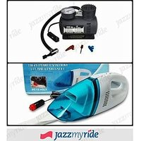 Combo of 12V DC Car Vacuum Cleaner Heavy Duty + Air Compressor