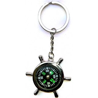 8f9769170 Silver Metallic Key Chain with Compass for Car Auto Bike Cycle Home Key Ring  available at