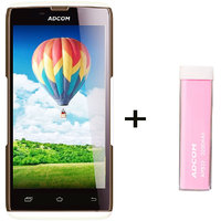Combo Of Adcom A50 - White + APB 2200mAh Powerbank- Pink