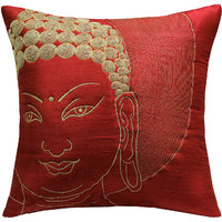 Buddha Face Quilted & Embroidered, Red & Gold Cushion Cover