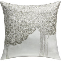 Bodhi Tree Embroidered, White & Silver Cushion Cover