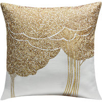 Bodhi Tree Embroidered, White & Gold Cushion Cover