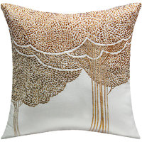 Bodhi Tree Embroidered, White & Copper Cushion Cover