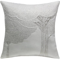 Bodhi Tree Quilted & Embroidered, White & Silver Cushion Cover