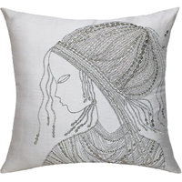 Classic African Woman Embellished Face Embroidery, Off-White/Silver/ Antique Cushion Cover