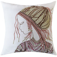 Classic African Woman Embellished Face Embroidery, Off-White/Copper/Gold Cushion Cover