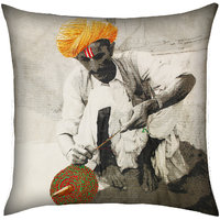 Classic Village Man Print & Embroidery, Black & White/Multicolor Highlights Cushion Cover