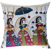 Wedding Procession Traditional Style, Applique & Embroidery, White & Multicolor Cushion Cover