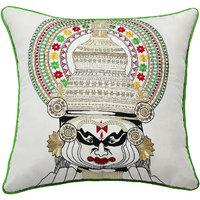 Kathakali Face, Embroidery, White & Multicolor Cushion Cover