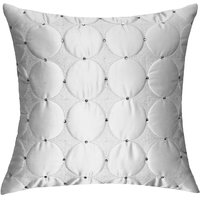 Circular Pattern Texture Quilted & Embroidered, White & Silver Cushion Cover