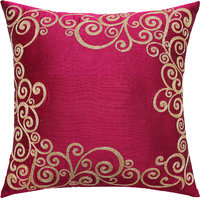 Heavy Filigree Frame Embroidered, Magenta & Gold Cushion Cover