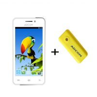 Combo Of Adcom A400i - White + APB 4400mAh Powerbank- Yellow