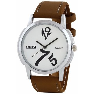 OURA Round Dial Tan Synthetic Strap Men Quartz Watch for Men