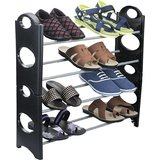 IBS Simple Standing Home Organizer Stackable Shoe Rack Plastic, Steel Collappsible  4 Shelves