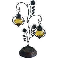Attractive Glass With Metal Candle Stand Lantern - The Woods Hut - 4861238
