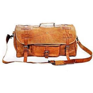 IN-INDIA vintage handmade leather duffel bag 20 inch/50 cm (brown)