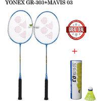 Combo Pack Of Yonex Gr 303 Badminton Racquet + Mavis 03 Badminton Shuttel Cock