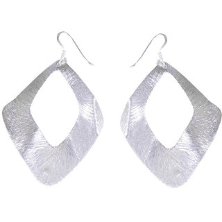 Verra Wide Open Bended Leaf Shaped Sterling Silver Earrings