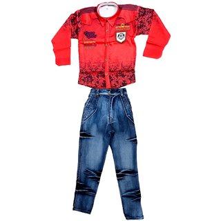 Arshia Fashions Boys Shirt And Denim Jeans Set