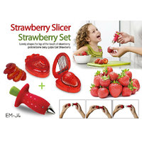 Strawberry Slicer And Huller Combo Set Stainless Steel Strawberry Cutter