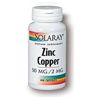 Solaray - Zinc Copper, 50mg / 2mg, 100 Capsules