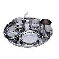 Stainless Steel 7 PC Dinner Thali Bowl Spoon Set