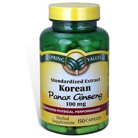 Spring Valley - Korean Panax Ginseng 100 Mg, Standardized Extract, 150 Capsules