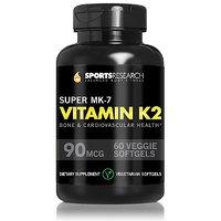 Super Mk-7 Vitamin K2, 90mcg, 60 Mini-Veggie Softgel Capsules; Supports