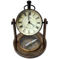 UFC Mart Antique Clock N Compass Pure Brass Handicraft